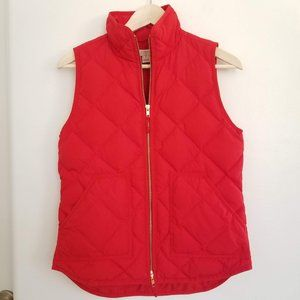 J. Crew Factory Quilted Puffer Vest RED XS